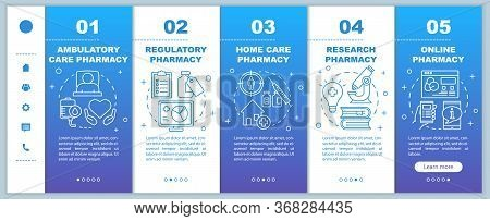Pharmacy Types Onboarding Mobile Web Pages Vector Template. Ambulatory Care. Responsive Smartphone W