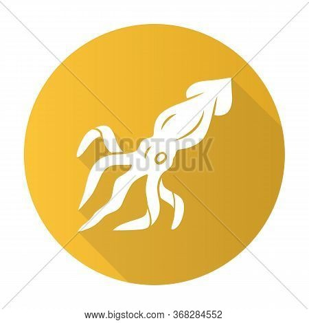 Squid Yellow Flat Design Long Shadow Glyph Icon. Swimming Marine Animal With Tentacles. Seafood Rest