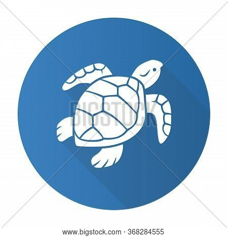 Turtle Blue Flat Design Long Shadow Glyph Icon. Slow Moving Reptile With Scaly Shell. Underwater Aqu