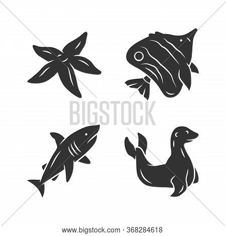 Sea Animals Glyph Icons Set. Starfish, Butterflyfish, Shark, Seal. Ocean Underwater Wildlife. Aquati