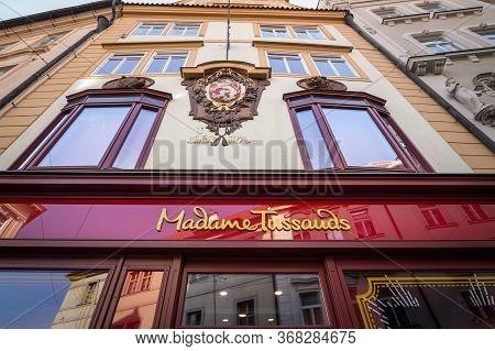 Prague, Czechia - October 31, 2019: Madame Tussauds Main Facade And Entrance In Prague. Madame Tussa