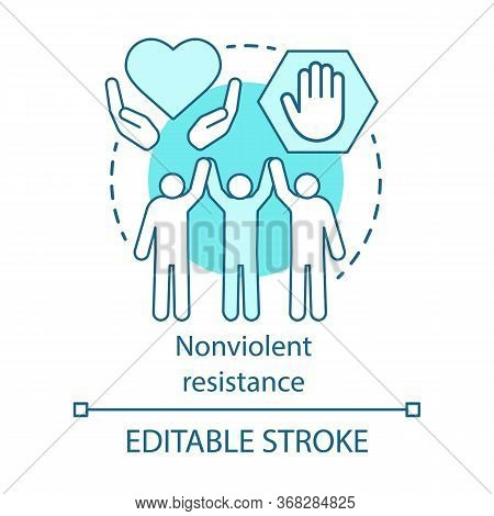 Nonviolent Resistance Concept Icon. Peaceful Political Protest, Public Rally, Pacifism Idea Thin Lin