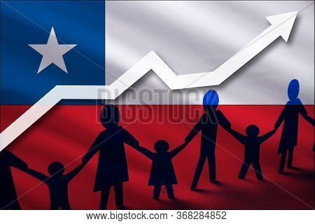 Chile Flag On A Background Of A Growing Arrow Up And People With Children Holding Hands. Demographic