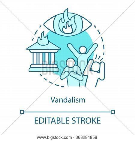 Vandalism Concept Icon. Civil Unrest, Property Destruction, Mob Violence Idea Thin Line Illustration