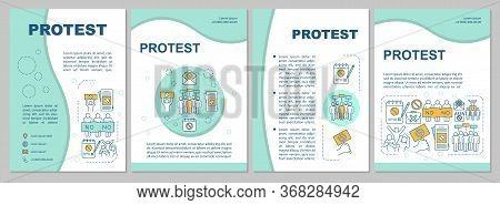 Public Protest Brochure Template Layout. Civil Disobedience Flyer, Booklet, Leaflet Print Design Wit