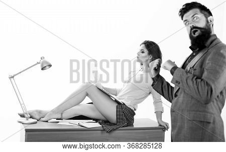 Full Of Desire. Sexy Lady Worker Attractive Legs Sit On Table. Boss Excited About Sexy Secretary. Ca