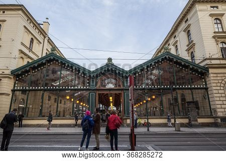 Prague, Czechia - November 1, 2019: People Waiting For A Tram In Front Of Masarykovo Nadrazi, One Of
