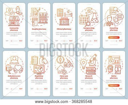 Pharmacy Types And Services Onboarding Mobile App Page Screen Vector Template. Hospital Pharmacology