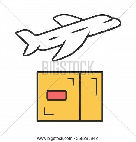 Delivery By Plane Color Icon. International Cargo Shipping. Air Freight. Transfer And Shipment Of Pa