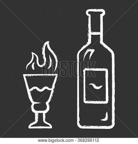 Absinthe Chalk Icon. Bottle And Tall Footed Glass With Flaming Shot. Distilled Highly Alcoholic Beve