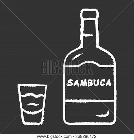Sambuca Chalk Icon. Bottle And Shot Glass With Drink. Italian Anise-flavoured Liqueur. Alcoholic Bev