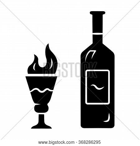 Absinthe Glyph Icon. Bottle And Tall Footed Glass With Flaming Shot. Distilled Beverage. Herbal Liqu