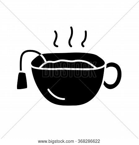 Hot Tea Cup Glyph Icon. Teatime Break, Breakfast Silhouette Symbol. Negative Space. Mug With Warm De