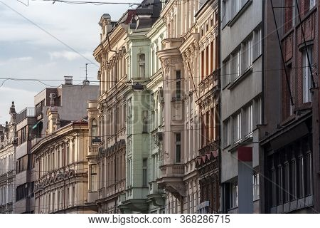 Facade Of Old Residential Buildings From The 19th Century In The City Center Of Prague, Czech Republ