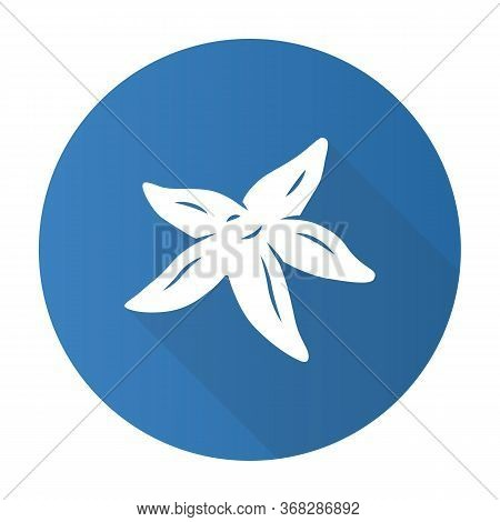Starfish Blue Flat Design Long Shadow Glyph Icon. Tropical Underwater Creature. Invertebrate Mollusk