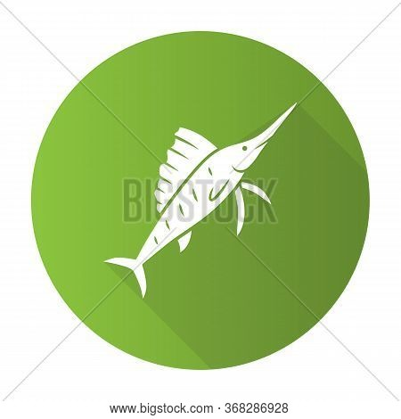 Sailfish Green Flat Design Long Shadow Glyph Icon. Swimming Fish With Sharp Long Nose. Undersea Swor