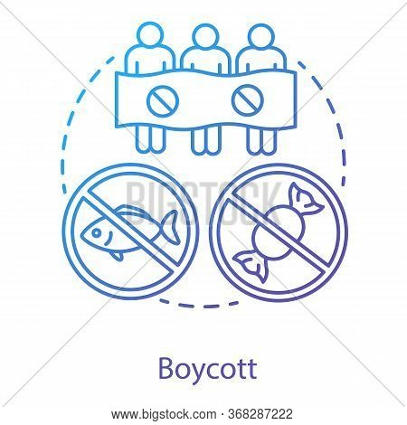Boycott Concept Icon. Public Demonstration, Product Abstention, Consumer Activism Idea Thin Line Ill