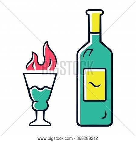 Absinthe Green Color Icon. Bottle And Tall Footed Glass With Flaming Shot. Distilled Highly Alcoholi