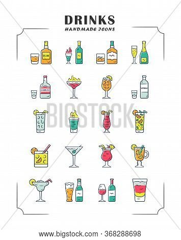 Drinks Color Icons Set. Alcohol Menu Card. Beverages For Cocktails. Whiskey, Rum, Wine, Martini, Mar