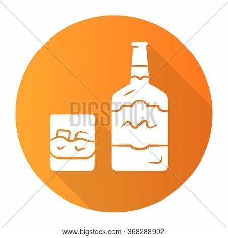 Whiskey Orange Flat Design Long Shadow Glyph Icon. Bottle And Old Fashioned Glass With Drink, Ice. S