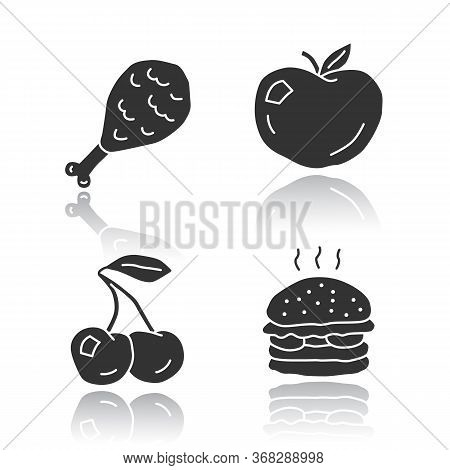 Healthy And Harmful Nutrition Glossy Icons Set. Junk Food And Organic Snacks Silhouette Symbols. Chi
