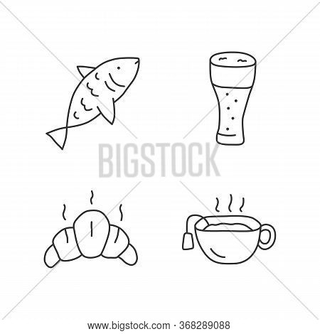 Drinks With Snacks Linear Icons Set. Delicious Food, Harmful And Healthy Meal Thin Line Contour Symb