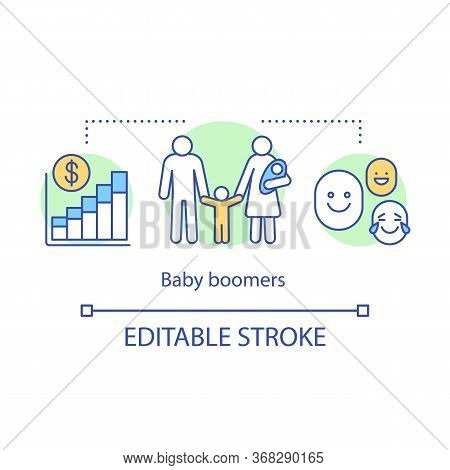 Baby Boomers Concept Icon. Investing In Future Of Children. Family Welfare. State Support For Large