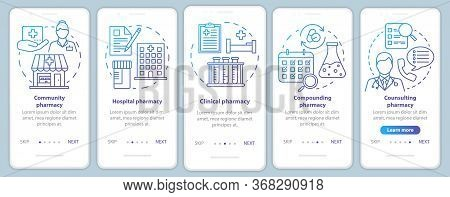 Pharmacy Types Onboarding Mobile App Page Screen Vector Template. Hospital, Clinic Pharmacology. Wal