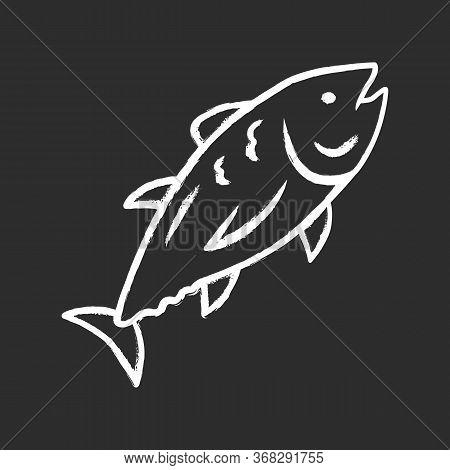 Tuna Chalk Icon. Swimming Marine Fish. Underwater Inhabitant. Mackerel Fishing. Seafood Restaurant M