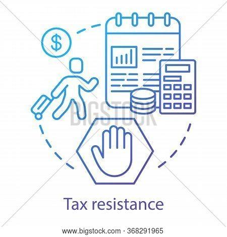 Tax Resistance Concept Icon. Civil Disobedience, Government Manifestation Idea Thin Line Illustratio