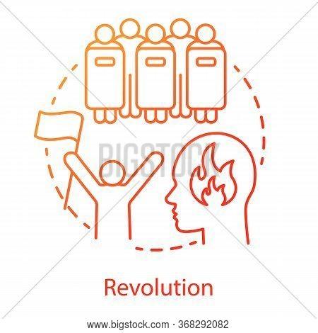 Revolution Concept Icon. Civil Unrest Idea Thin Line Illustration. Revolutionary With Flag And Riot