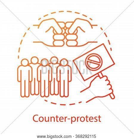 Counter Protest Concept Icon. Public Confrontation, Disagreement Manifestation Idea Thin Line Illust