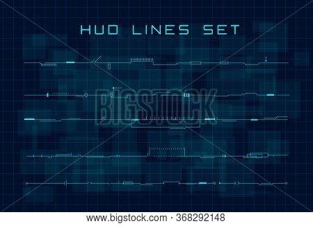 Set Of Hud Futuristic Header, Footer And Line Elements On Dark Hi Tech Background. Design Elements F