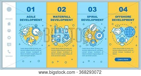 Software Development Methodologies Onboarding Mobile Web Pages Vector Template. Responsive Smartphon