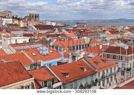 Lisbon City View With Alfama District. Lisbon City, Portugal.