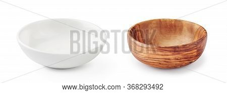 Wooden Bowl And White Bowl Isolated On White Background. Set Of Bowls.