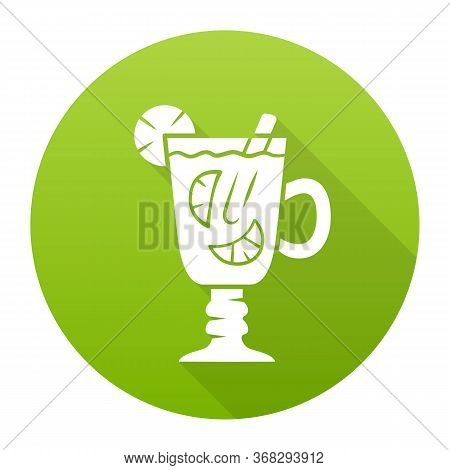 Hot Toddy Green Flat Design Long Shadow Glyph Icon. Hot Whiskey In Irish Coffee Glass. Beverage With
