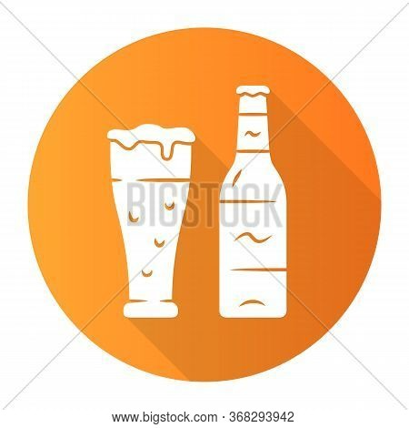 Beer Orange Flat Design Long Shadow Glyph Icon. Uncorked Bottle And Glass Of Beverage. Bottled And D