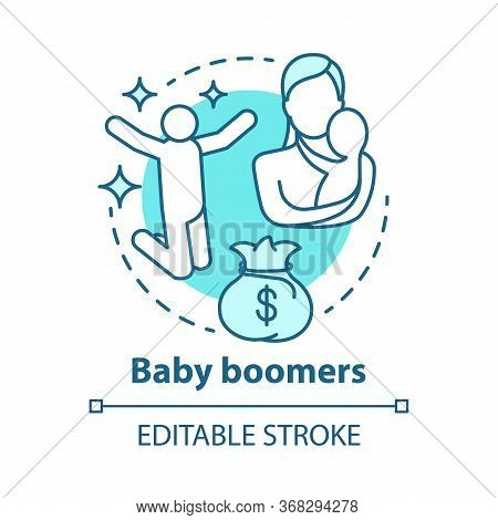 Baby Boomers Concept Icon. Generation Idea Thin Line Illustration. Mature People. Material Prosperit