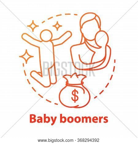 Baby Boomers Red Concept Icon. Generation Idea Thin Line Illustration. Mature People Lifestyle. Mate