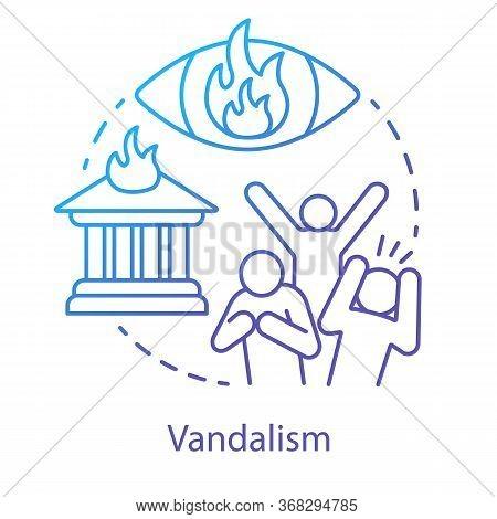 Vandalism Concept Icon. Civil Unrest, Property Damage, Mob Violence Idea Thin Line Illustration. Agg