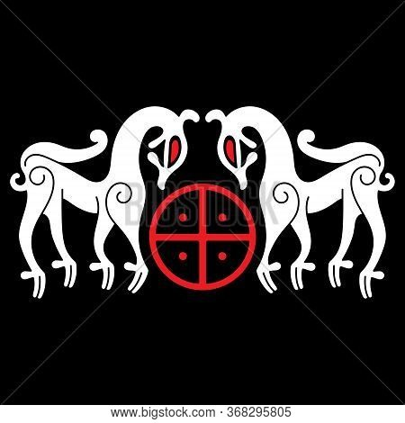 Ancient Decorative Mythical Animal In Celtic, Scandinavian Style, Scandinavian Knot-work Illustratio