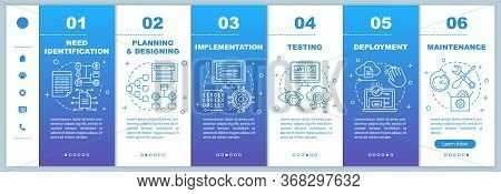 Software Development Stages Onboarding Mobile Web Pages Vector Template. Responsive Smartphone Websi
