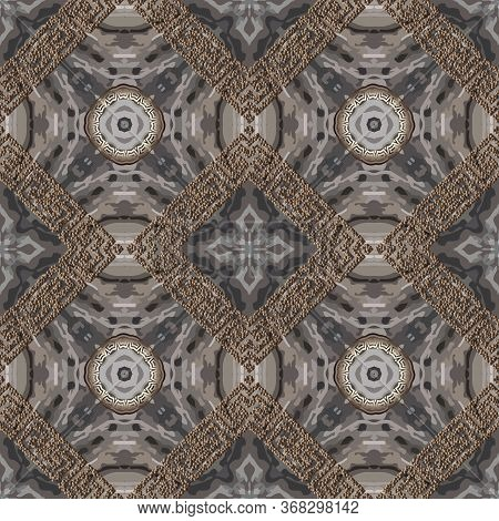Textured Abstract Grunge Vector Seamless Pattern. Greek Stippled Rhombus Frames Background. Repeat R