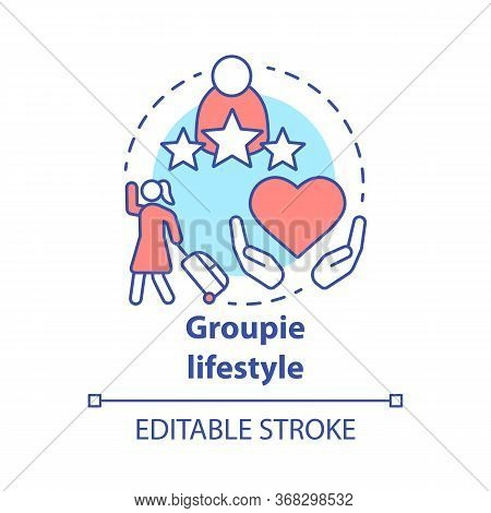 Groupie Lifestyle Concept Icon. Seeking Personal Gain Following Celebrity Idea Thin Line Illustratio