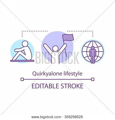Quirkyalone Lifestyle Concept Icon. Spending Time Alone Idea Thin Line Illustration. Preferring Sing