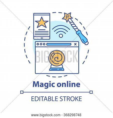 Magic Online Concept Icon. Modern Sorcery Idea Thin Line Illustration. Internet Witchcraft, Fortune