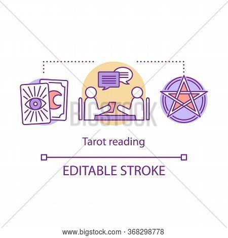 Tarot Reading Concept Icon. Fortune Telling, Divination And Cartomancy Idea Thin Line Illustration.