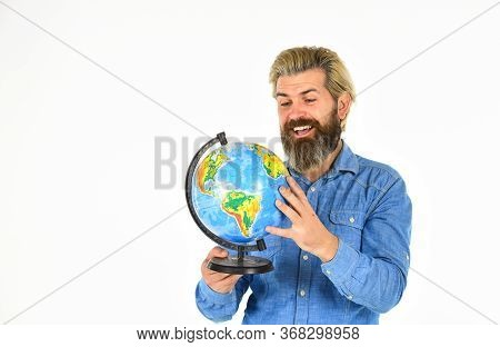 Man With Globe. Earth Day. Agile Business. Back To School. Mature Geographic Teacher. Travel And Vac