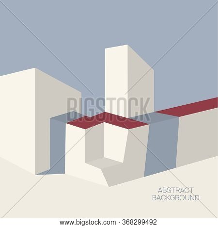 Cubism Abstract Minimalism Vector Illustration. Architectural Forms In Pastel Colors. Geometric Shap